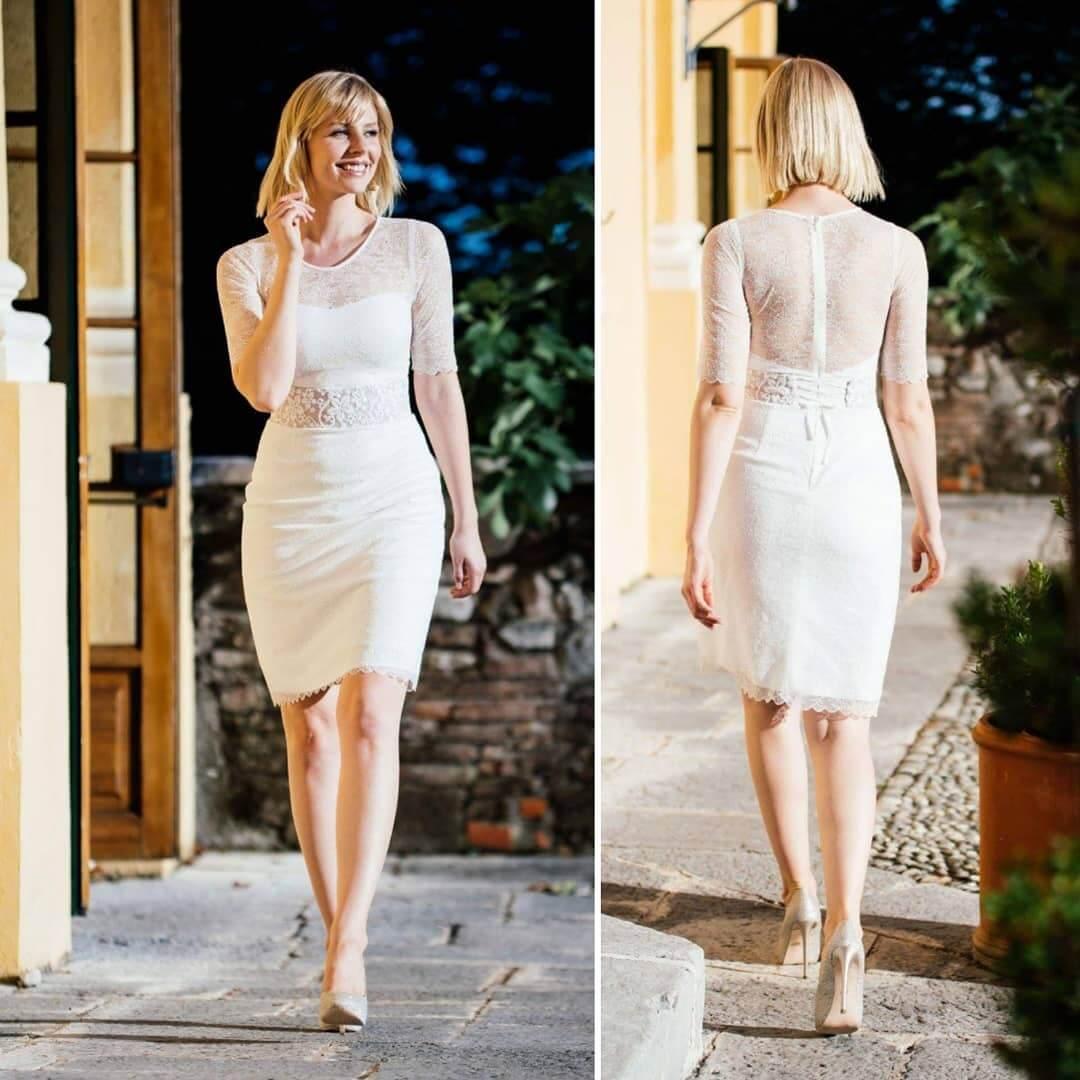 vestido de novia corto corte sirena