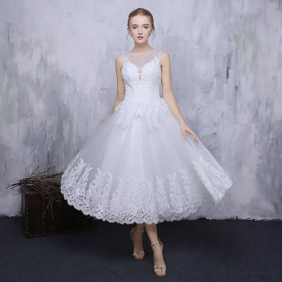 vestido de novia corto elegante con encaje