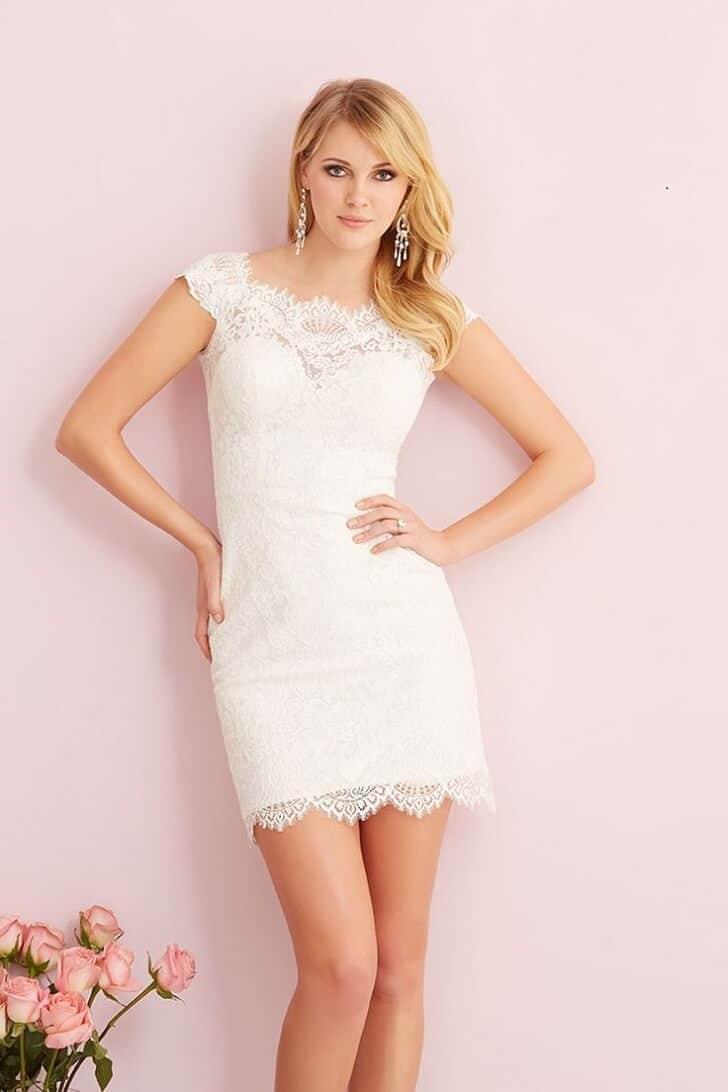 vestido de novia corto encaje sin mangas