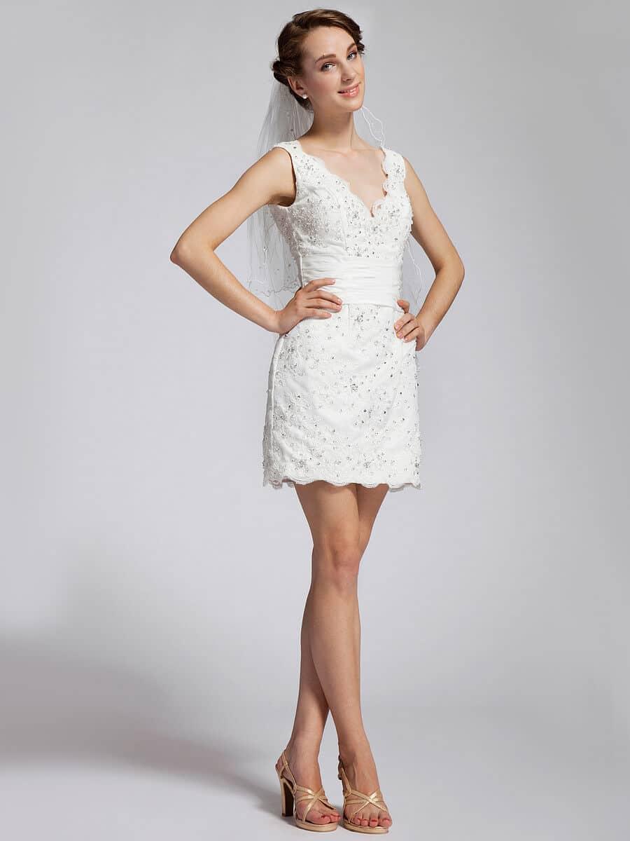 vestido de novia corto moderno y juvenil