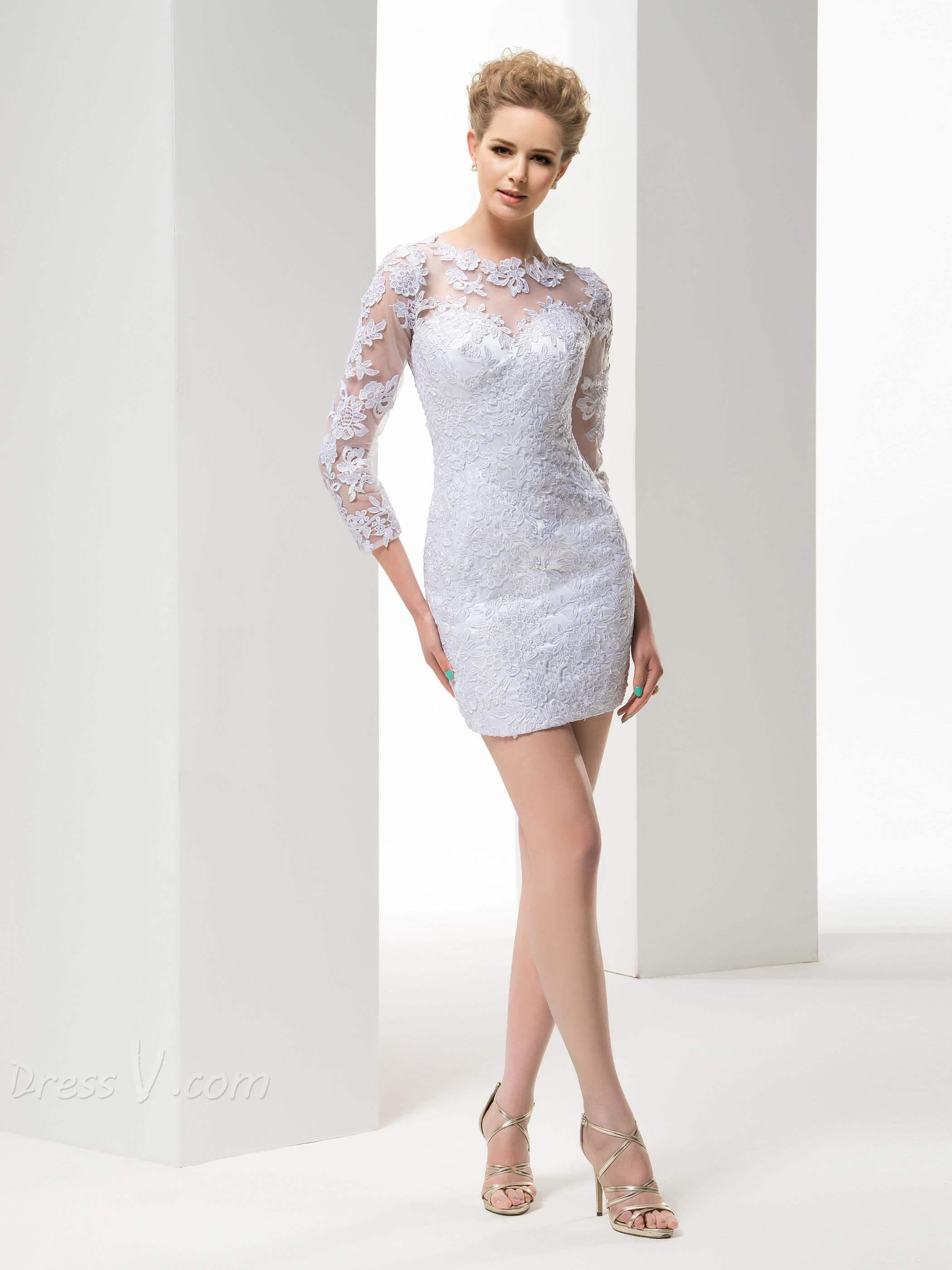 vestido de novia corto pegado con encaje