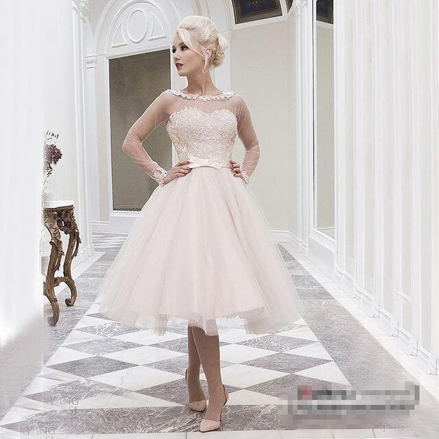 vestido de novia corto sencillo