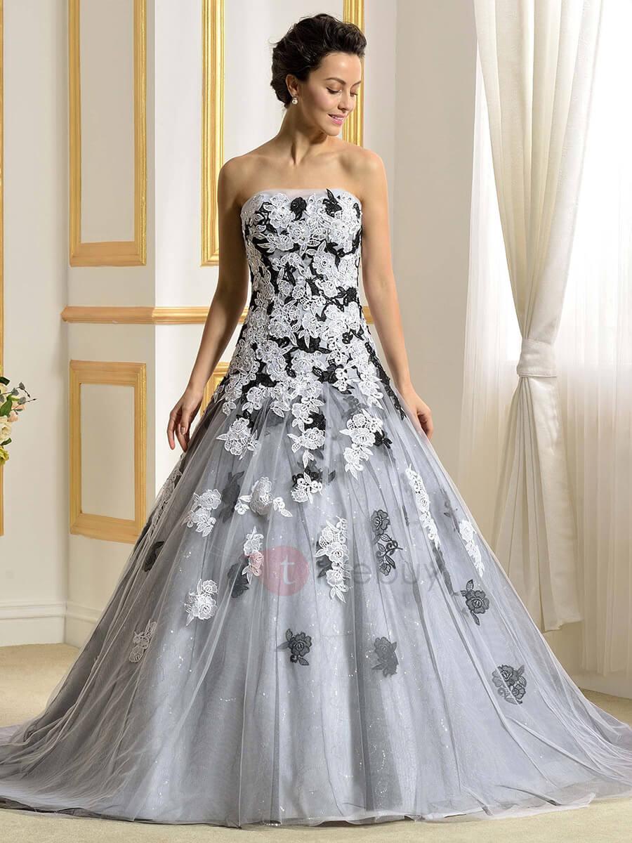 vestido de novia degradado gris con flores blancas