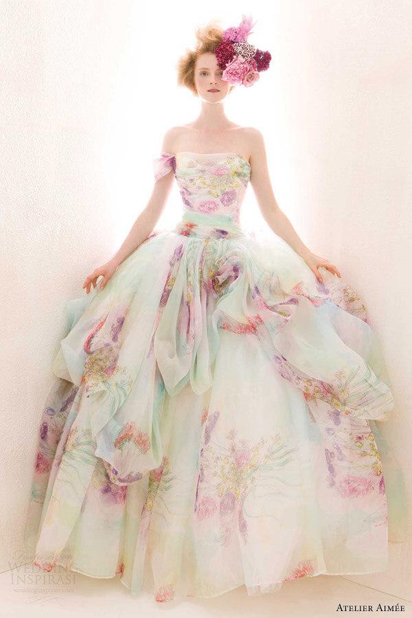 vestido de novia estampado con flores
