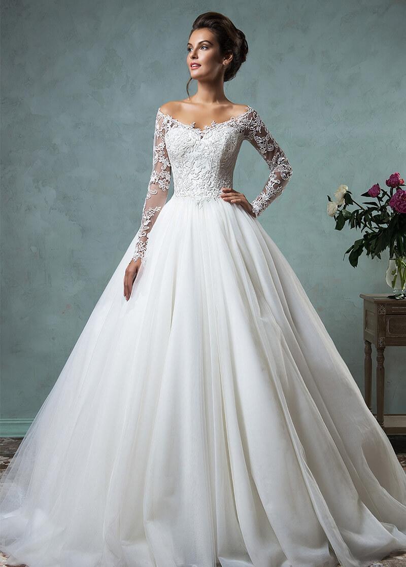 vestido de novia largo con encaje
