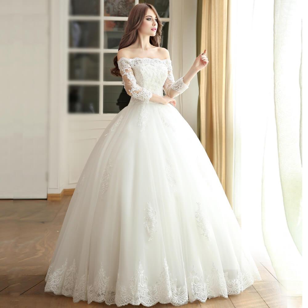 vestido de novia largo con mangas