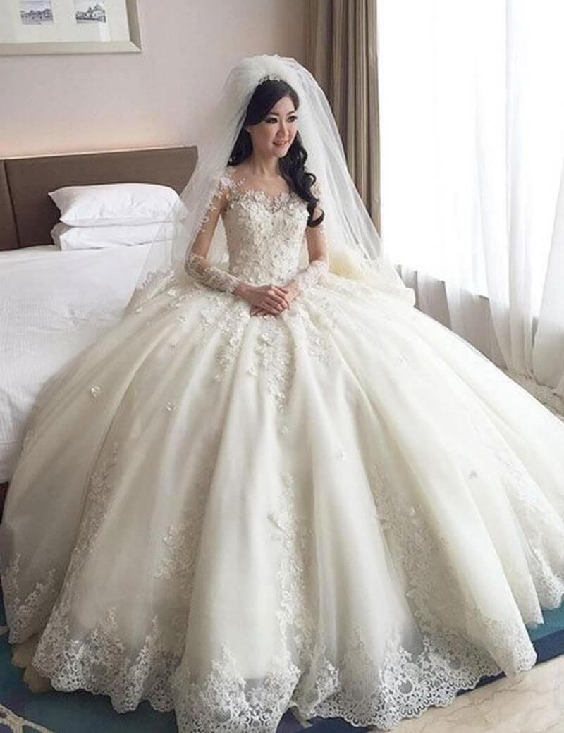 vestido de novia largo de de cola ancha