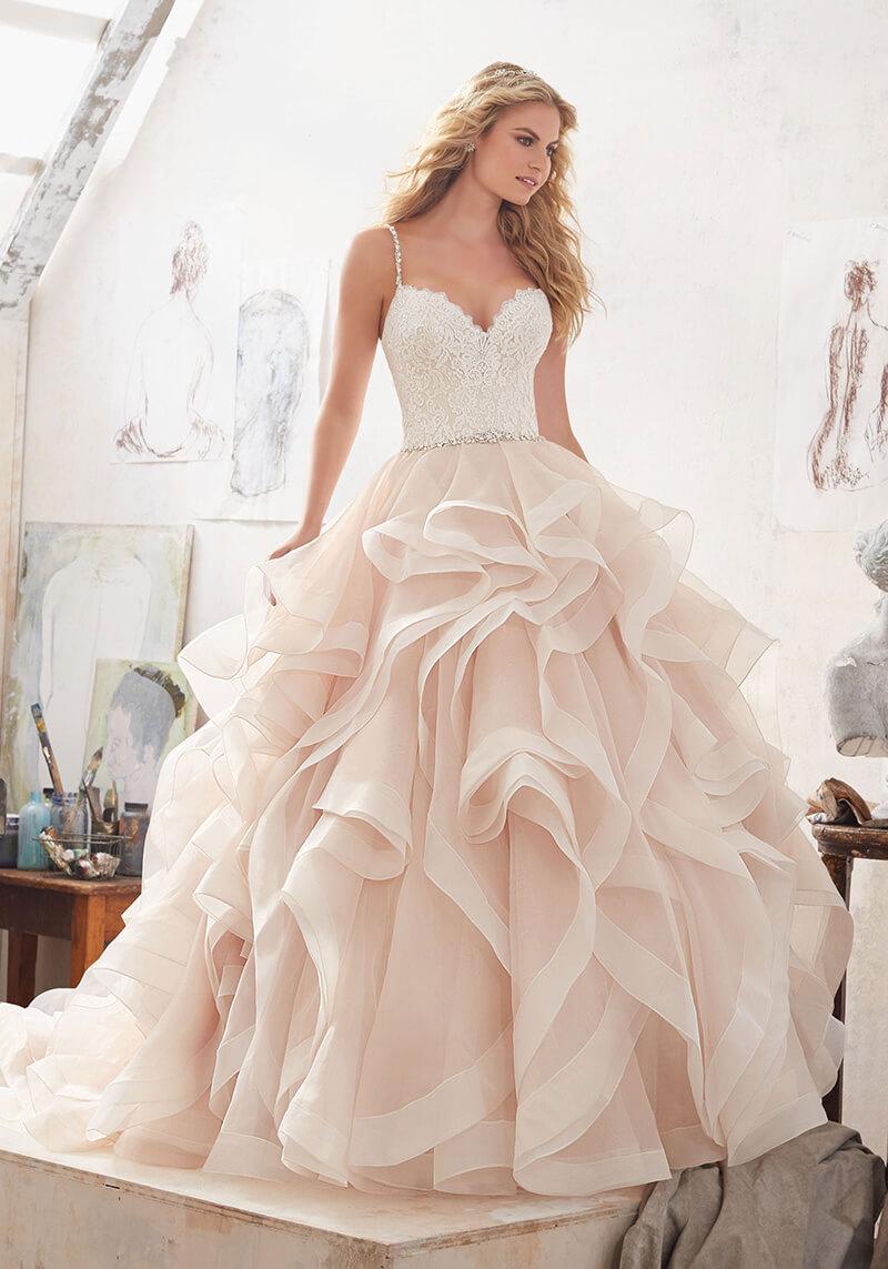 Vestido de novia largo dos colores