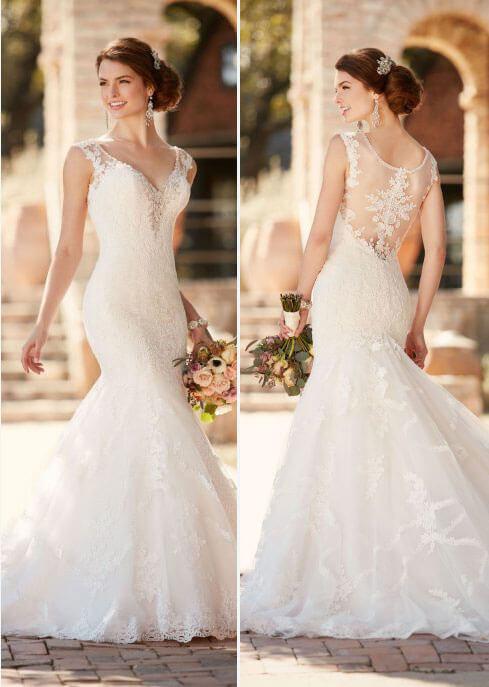 vestido de novia largo encaje espalda libre