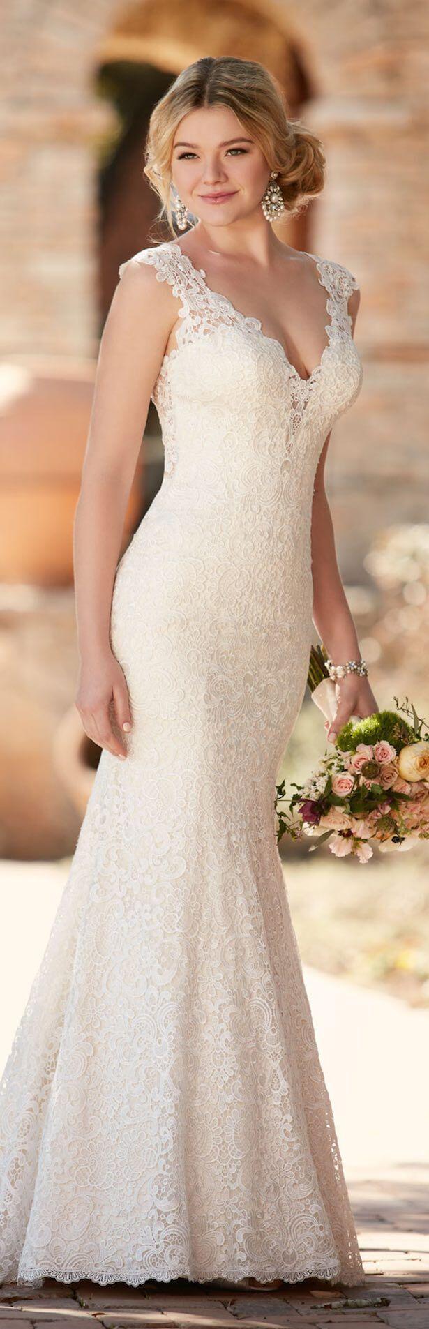 vestido de novia largo encaje pegado al cuerpo
