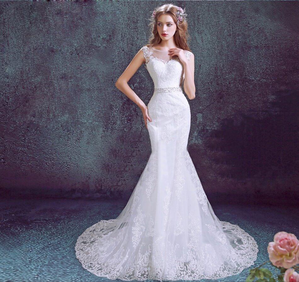 vestido de novia pargo corte sirena