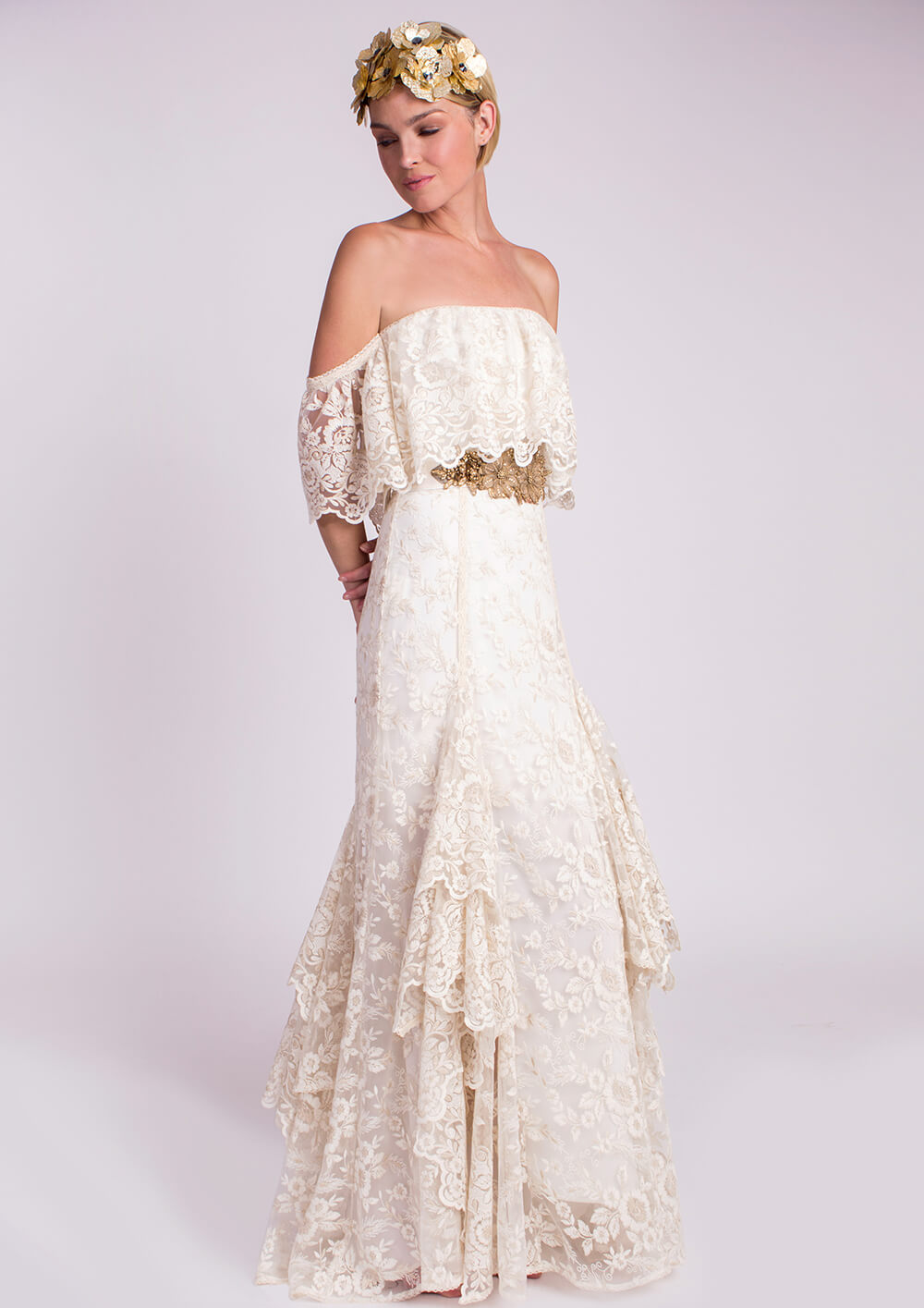 vestido de novia vintage hombro descubierto