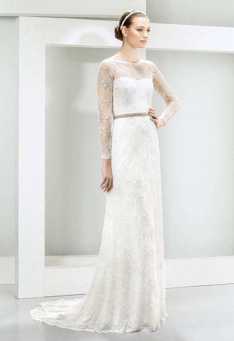 vestido de novia vintage mangas largas