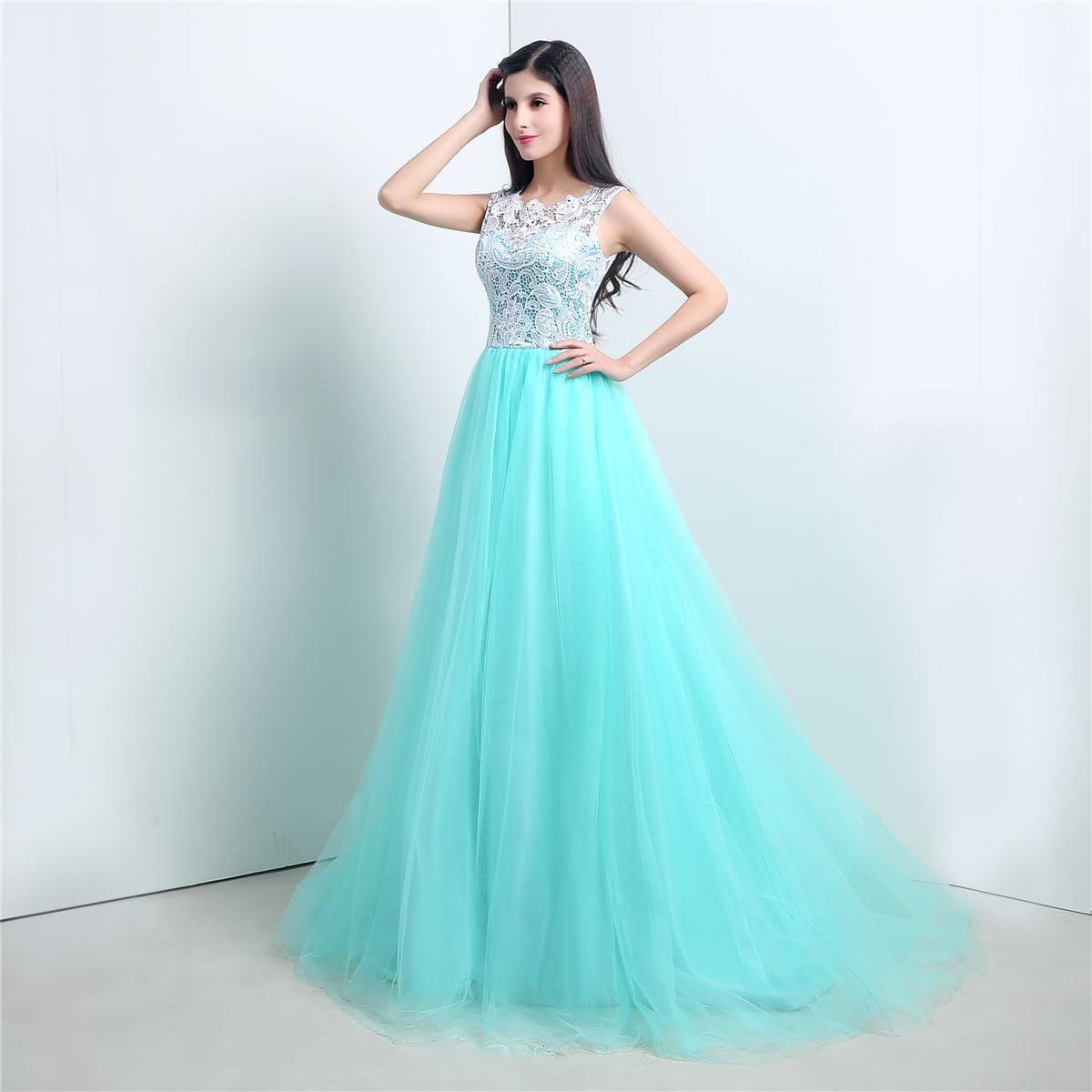 Vestidos largos color celeste