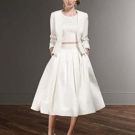 vestidos de novia cortos sencillos con saco