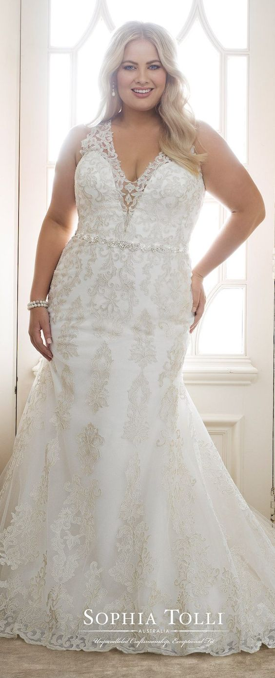 vestidos de novia gorditas encaje escotado
