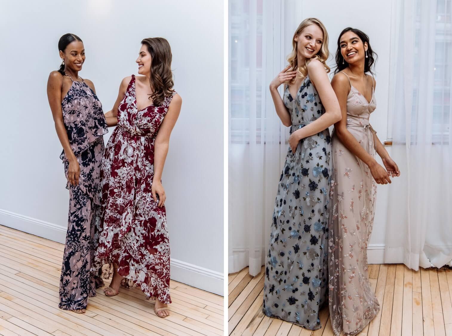 vestidos estampados damas de honor 2018