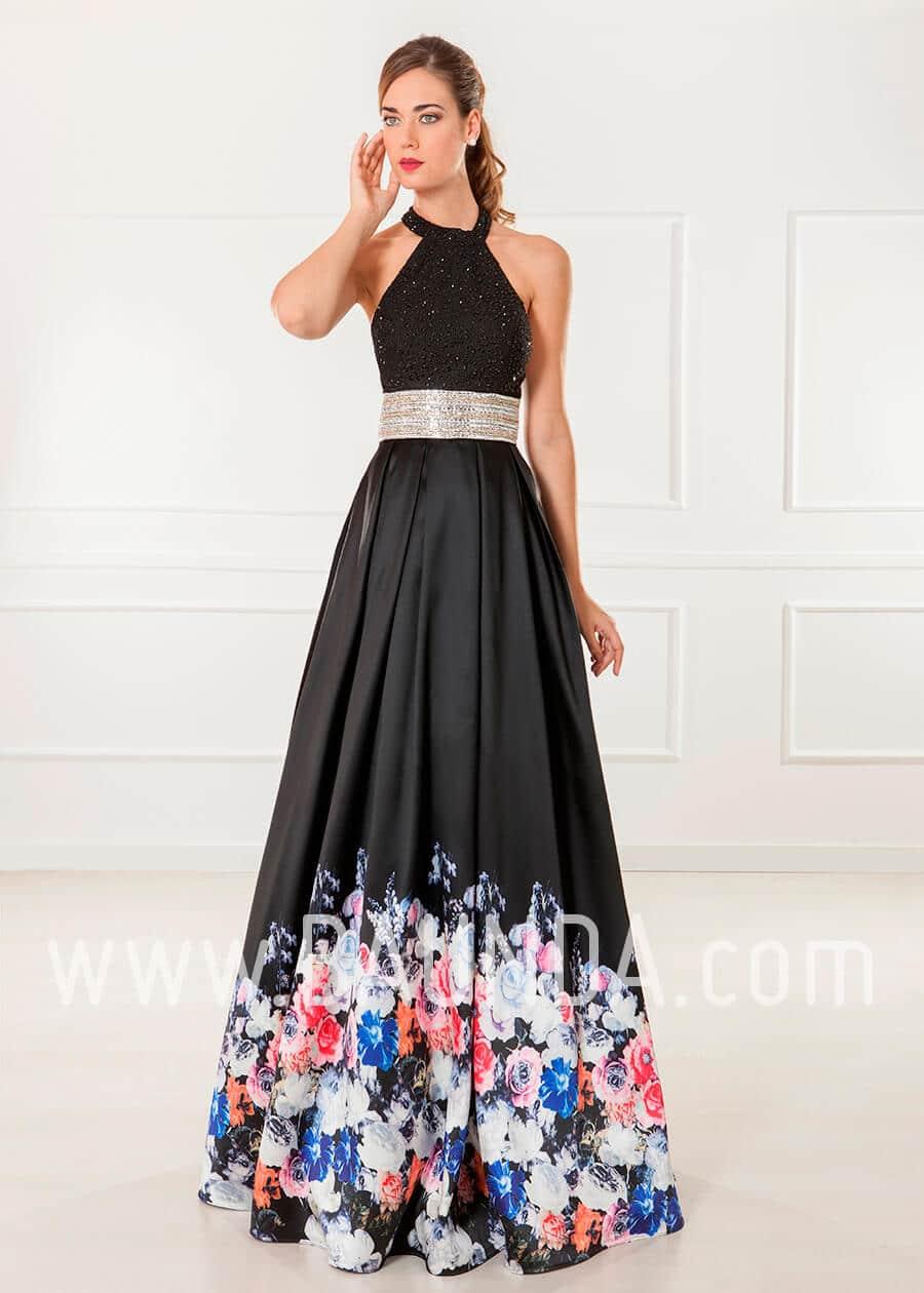 vestido de fiesta largo negro con flores