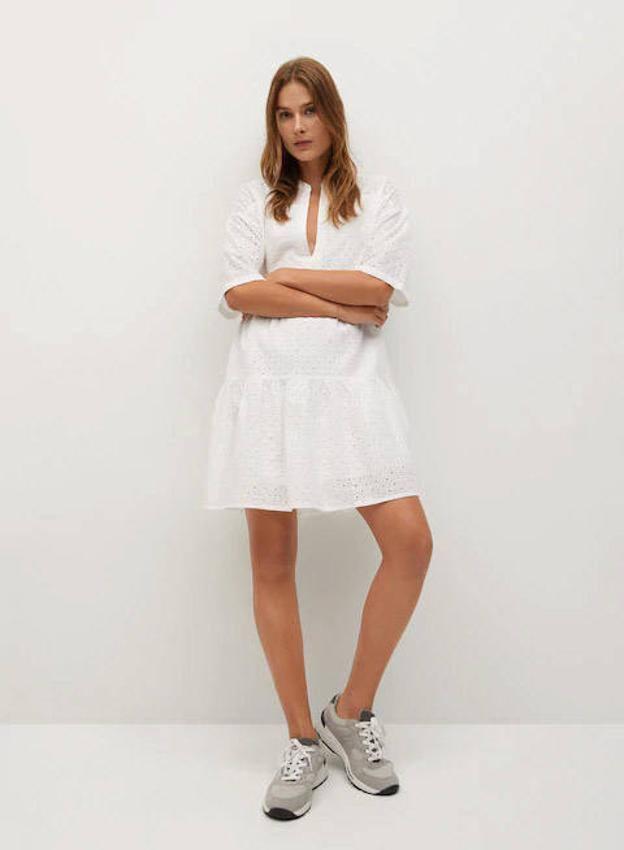 Vestido Blanco corto de Mango