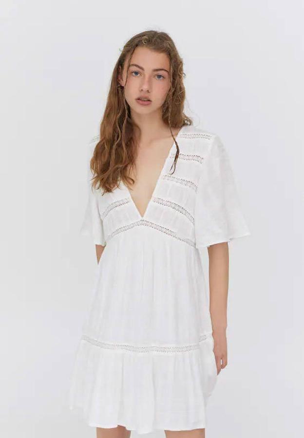 Vestido Blanco suelto Pull Bear