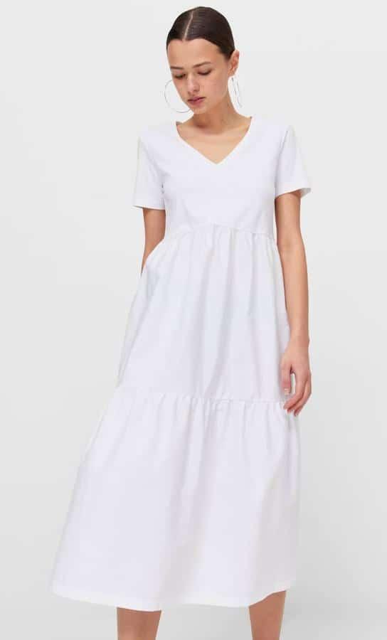 Vestido Blanco midi volantes stradivarius