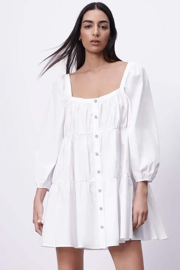 Vestido Blanco mini botones Zara