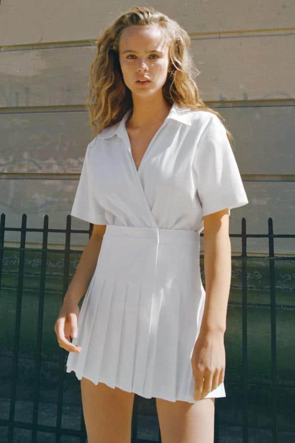 Vestido Blanco mono tablas Zara