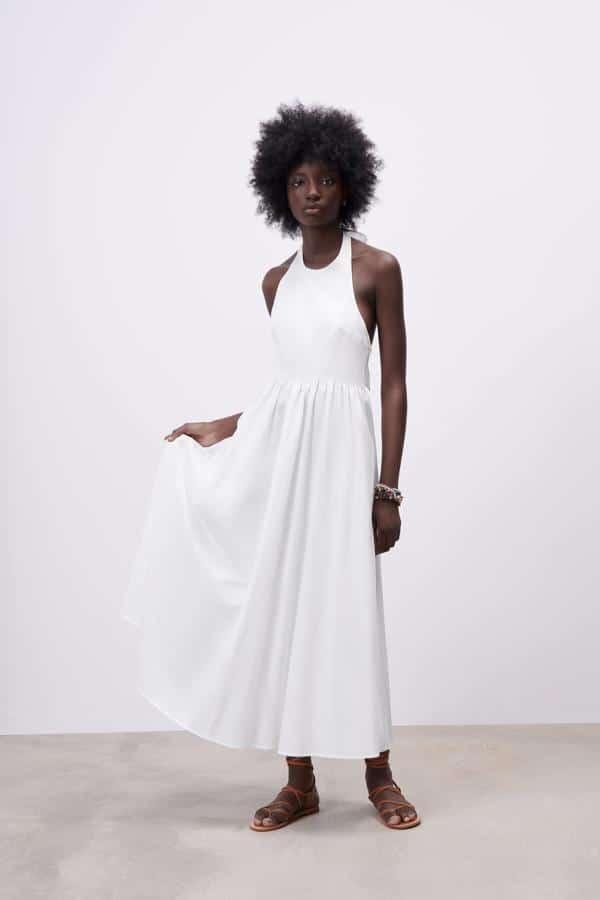 Vestido Blanco verano largo zara